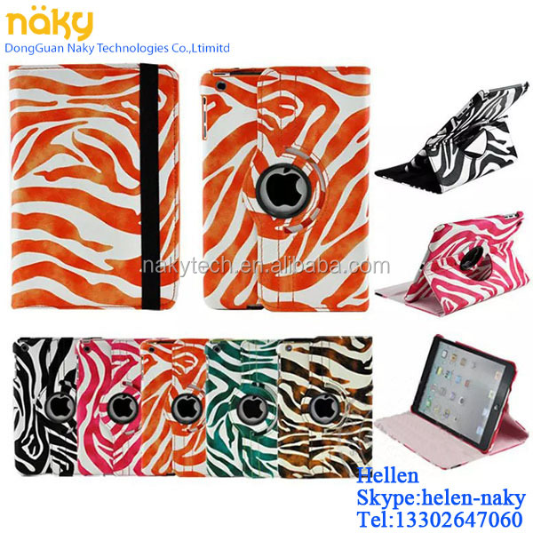 2015 Hot selling Mini Small Zebra colours PU 360 for ipad case rotating