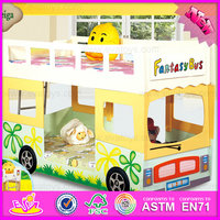 2016 wholesale high qualility car design wooden kids double deck bed W08A037