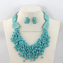 2015 Fashion Statement Necklace Set Indian Jewelry Wedding Set Turquoise Beads Jewelry Set