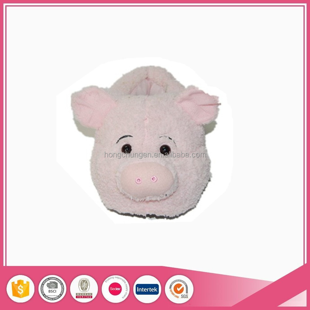 pink hot sale plush pig animal lady indoor slippers