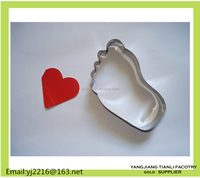 Food grade Metal foot shape bakeware biscuit cutter cookie cutter embossed