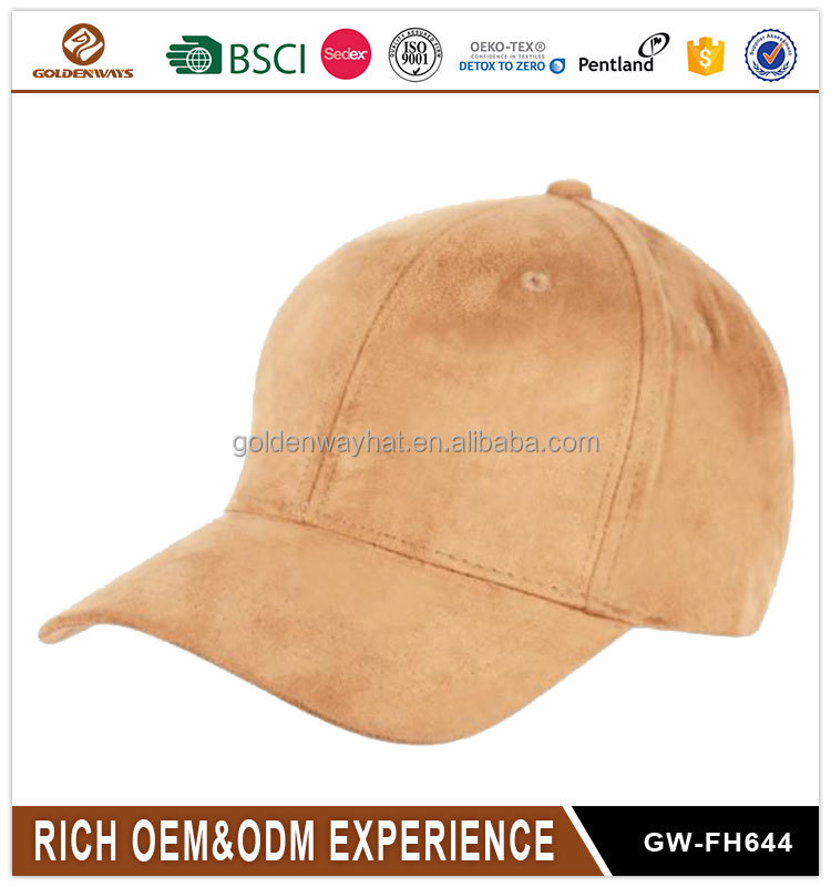 Wholesale high quality adjustable buckle plain suede dad hat sports cap and hat