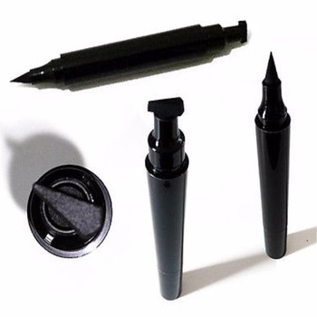 Self inked eyeliner stamp and pen device