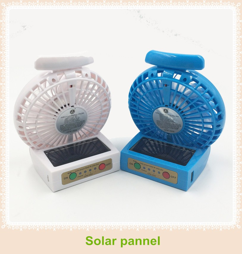 2016 Rechargeable portable solar fan, sloar power bank, usb mini fan