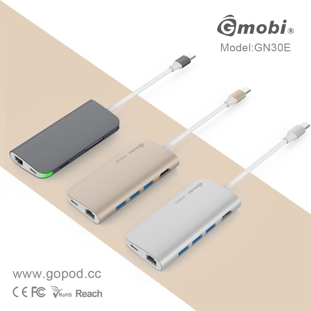 USB-C Digital AV Multi-port Adapter, Gmobi USB C Hub ,3.1 Type C Hub , HDMI 4K Output, Card Reader, 3 USB 3.0 Ports for 2016 mac