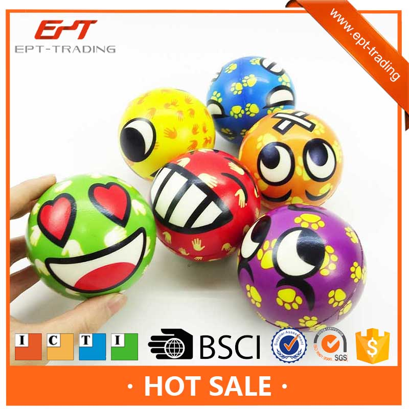 3inch promotional ball soft pu material sponge ball expression infant ball toy