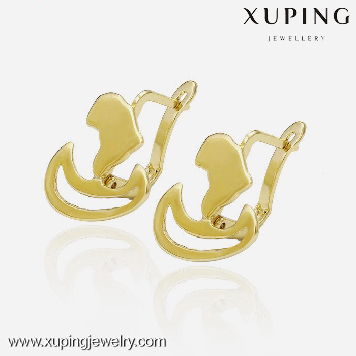 28886 xuping dubai gold jewelry earring, 14k gold color fancy design gold earring, cheap chinese earrings