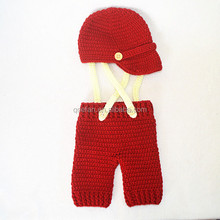 wholesale crochet newsboy hat and pants set baby photography props