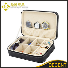 Ready Stock New Black PU Leather Zipper Travel Jewelry Sun Glasses Box Case Wholesale