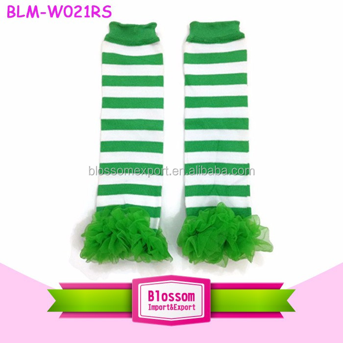 Wholesale Green Quatrefoil Leg warmers Knitted Leg Warmer St Patricks Day Baby Leg warmers With Ruffle