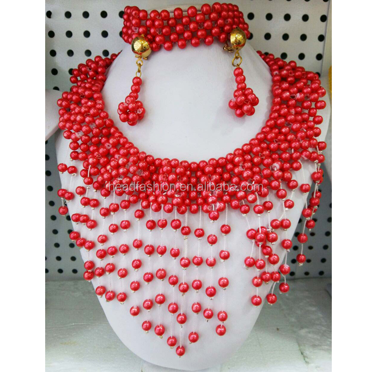 Queency Dubai Wedding Custom Coral Beads Jewelry Sets For African Women