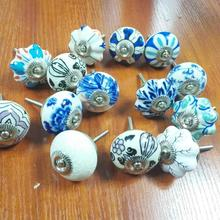 Wholesale decorative colorful round ceramic furniture drawers pull knobs cabinet knobs with Multicolor Assorted