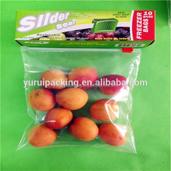 Best quality food ,fruit and vegetable Clear slier resealable plastic bags