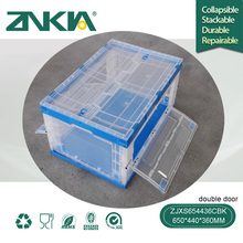ZJXS654436CBK double door stock storage systems vegetable fruit cold 80 L collapsible stackable plastic box/crate/container