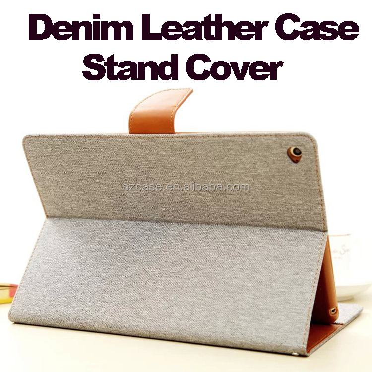 High Quality Denim Grain Leather Stand case for Ipad Air 2 Card Bag Style Wake Sleep Flip Cover for Ipad Air