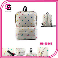 2014 good quality colorful polka dot fashion pattern backpack