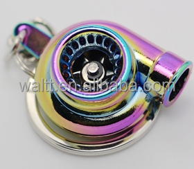 Turbo Keychain, Creative Multicolor Hot Sleeve Bearing Spinning Turbine Turbocharger Keychains Keyring