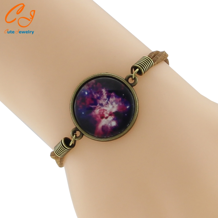 Mysterious Charm Braided Starry Sky Bracelet for Women Time Glass Stone Bracelets 2 Types for Choice