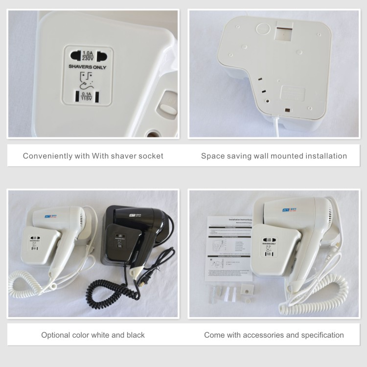 Double insurance 110v &220v socket 1200W hair dryer for hotel room