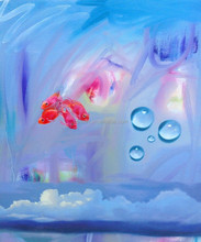 Top Quality Handmade Abstract Modern Under Water Landscape Oil Painting Unique Fish Oil Painting On Canvas For Wall Artwork