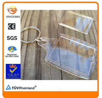 square rectangle clear acrylic insert photo split ring keyring