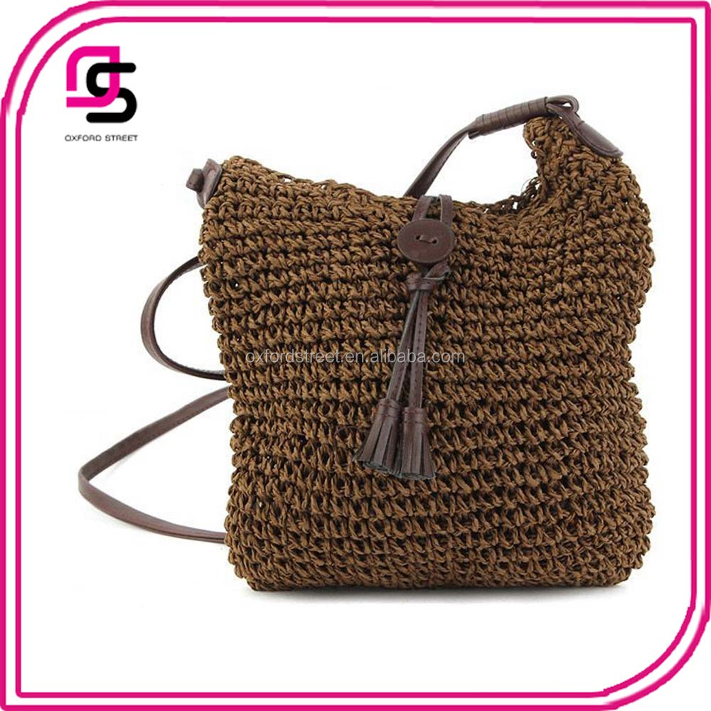 China factory wholesale summer trendy crochet straw crossbody bag with button