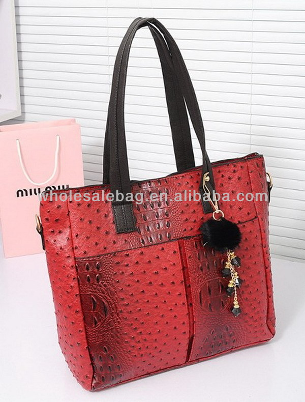 2014 Newest Designer In Stock Wholesale Ostrich Pu leather Handbag Wholesale Price Tote Bag For Ladies Women Girl