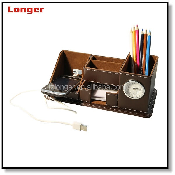 Multifunctional practical handmade PU leather office pen container