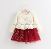 Winter Beautiful splicing dress colors children baby ruffle princess girls tutu dress