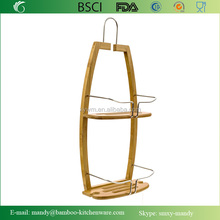 Bamboo Shower Caddy | Soap Holder Hanging Liquid Soap / Body Soap Shelf with Metal Support