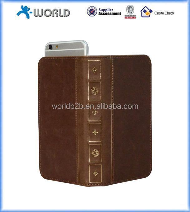 Genuine leather book style mobile phone universal case for samsung/ HTC/ iphone/ Huawei