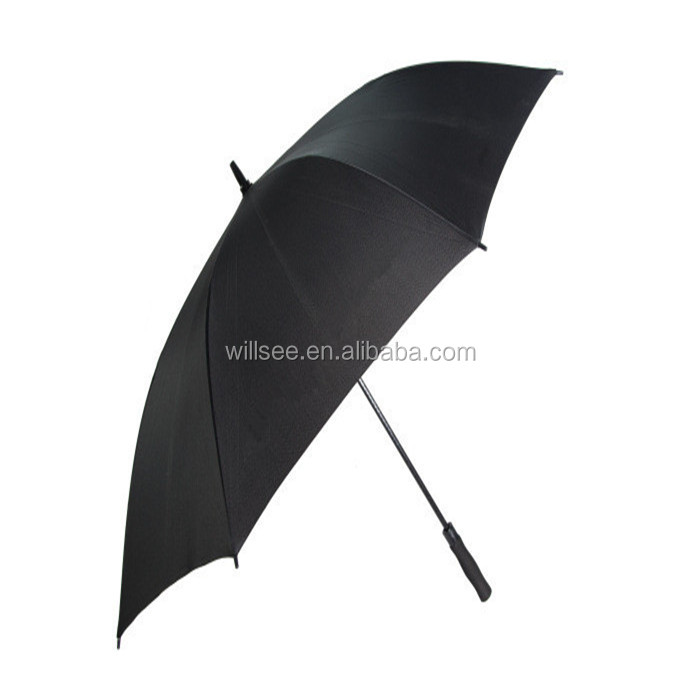 XW-26,High quality golf size promotional black windproof double layer umbrella