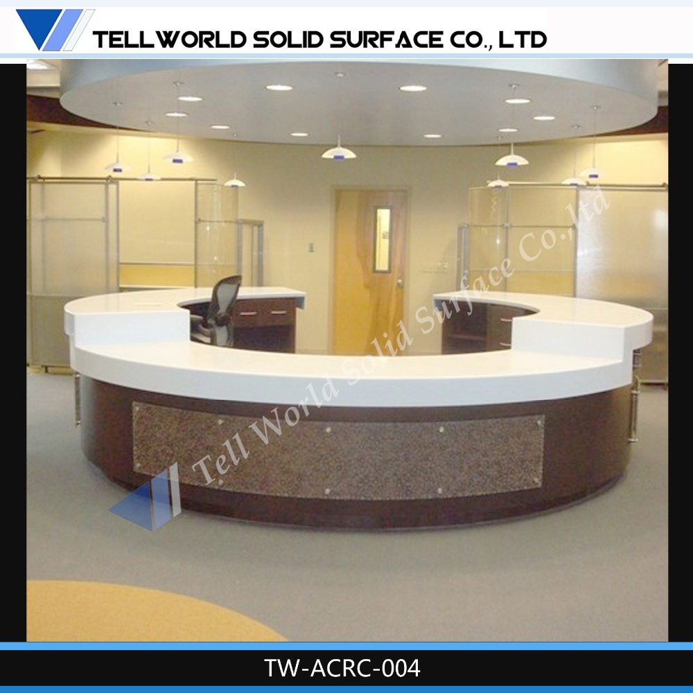 Hotel round counter marble reception design round for Hotel table design
