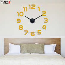 2017 fashion stainless steel digital wall clock with beautiful package sticker clock