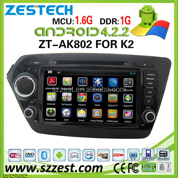 ZESTECH car dvd player for KIA K2 car dvd player DVR Android 4.2.2 capacitive multi touch screen