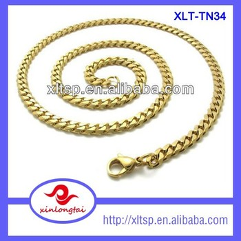 XLT-TN34 China Manufacturer Whosale New Gold Curb Chain Design Gold Chain Necklace