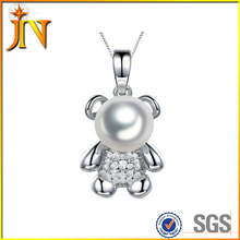 NL052 JN 925silver Lovely cute Teddy bear necklace pearl necklace hot sale fashion animal jewelry plating platinum for women
