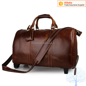 High quality camel travel bag men leather luggage stroller travel duffle bag with telescoping handle