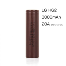 Hot sale li-ion battery authentic LG18650 HG2 3000mAh 3.6V 20A Discharge LG 18650 HG2 for Provari E Cigarette