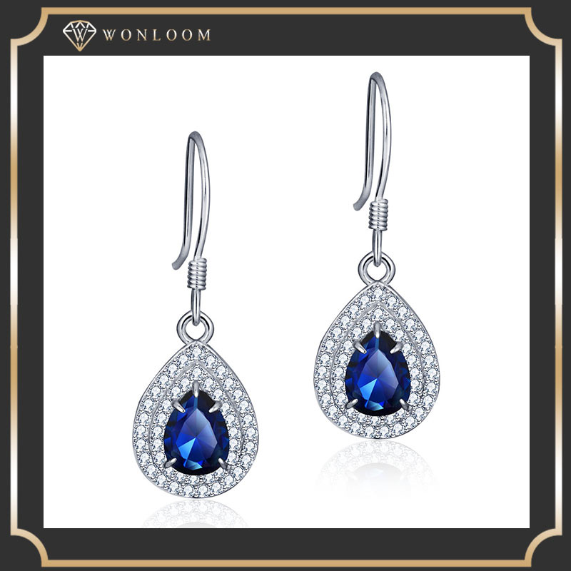 2016 fashion accessories women's sharped semi stone plated earrings jewerly