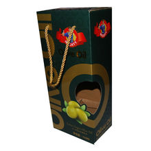 takeaway cardboard box for olive oil, olive oil package box with widown and handle