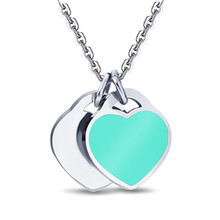 Yiwu ruigang double color heart shape pendant enamel craft charm necklace