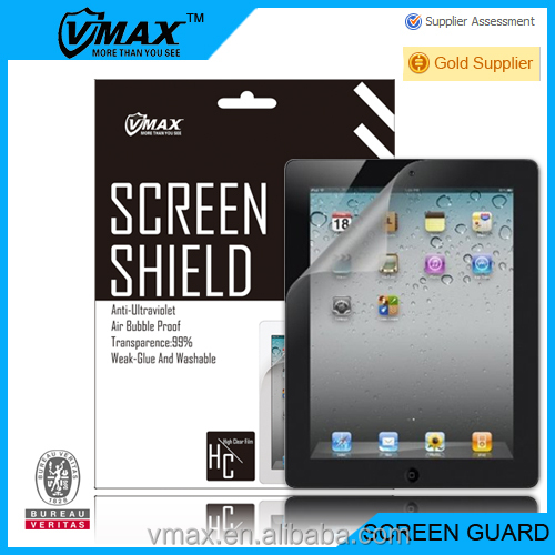 Tablet PC 4H Hardness Fingerprint Free 3 layers pet mobile clear screen protector for iPad2/3