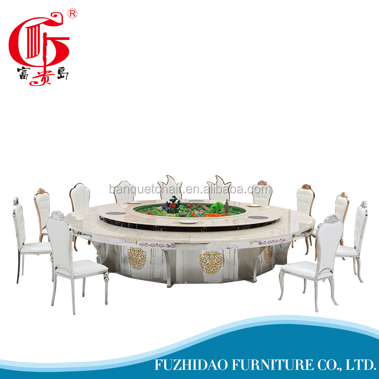Fashionable dubai fancy round rotating marble wedding dining table