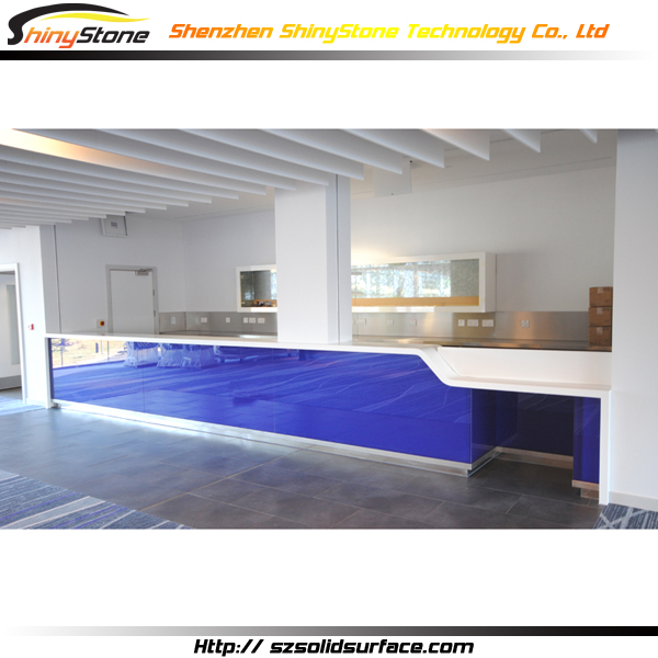 Blue long shape corain solid surface/artificial marble modern stone cafe counter