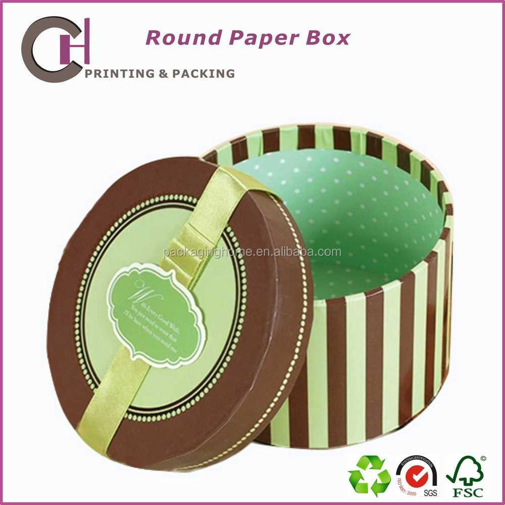 Good looking round cardboard paper gift box packaging template suppliers