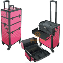 Professional aluminum trolley cosmetic beauty case for makeup artist