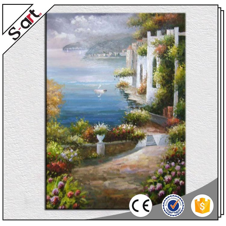 Various styles popular mediterranean sea landscape house oil painting