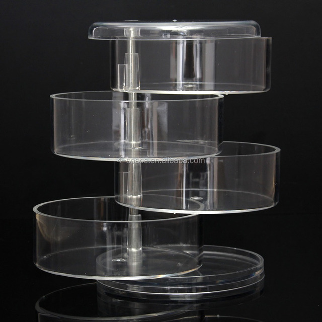 4 Tiers Swivel Round Shape organizer with Iron Bar Support Cosmetic Display Stand