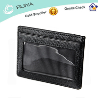 Real leather Black Leather Business Name Card Wallet / Holder